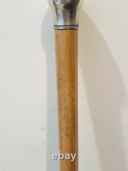Vtg Ritter & Sullivan Sterling Silver Estate Wood Walking Stick Cane 34 Tall