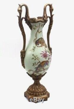 Vtg Sevres Style Porcelain Brass Metal Swan Handles Urn Vase 19 Tall Estate
