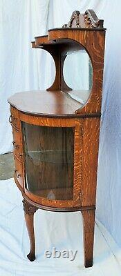 Vtg Victorian TIGER OAK SERVER / SIDEBOARD with Mirror & Bowed Glass Display