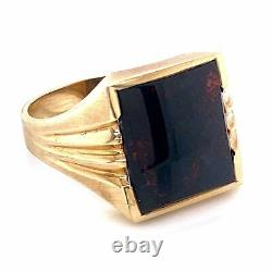 Yellow Gold Men's Square Bloodstone Victorian Revival Ring